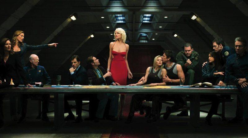 Key characters in Battlestar Galactica flank Cylon 'Six'