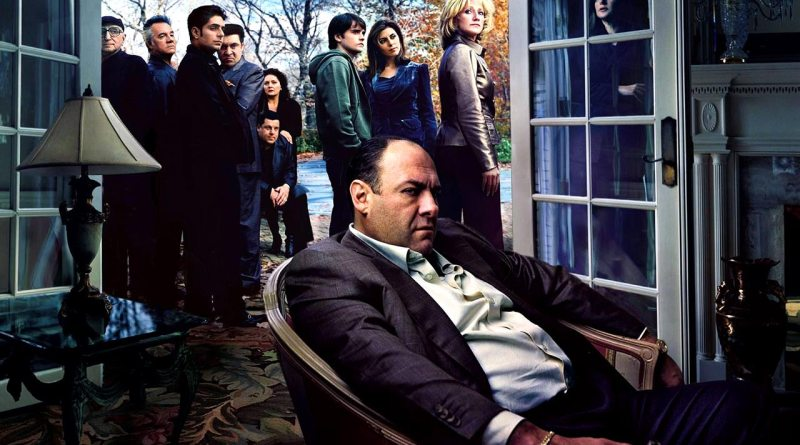 Members of The Sopranos cast flank Tony Soprano