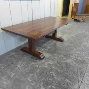 Reclaimed Walnut Table and antique beam trestle base