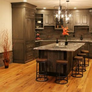 Rustic Reclaimed Oak Flooring in this kitchen space