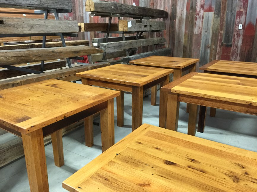 Reclaimed Oak table tops going into a local cafe