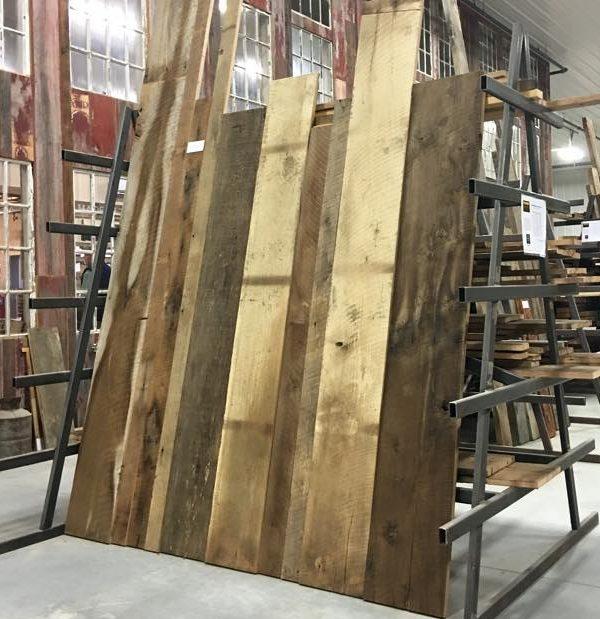 Reclaimed Brown Barnboard wall paneling.