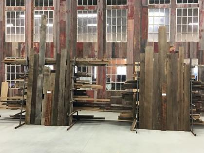 We keep these racks stocked with 2x stock to be used as furniture stock. This is the same reclaimed oak, softwood and chestnut we make our custom reclaimed furniture from.