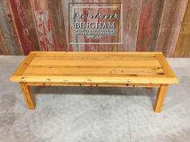 This coffee table mimics the style of our reclaimed farmhouse dining tables and is finished with a tun oil finish.