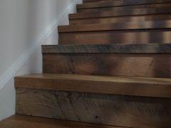 Rustic Reclaimed hardwood stair treads.