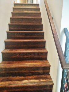 Our Custom Red Oak Stair treads with a Kerf Texture