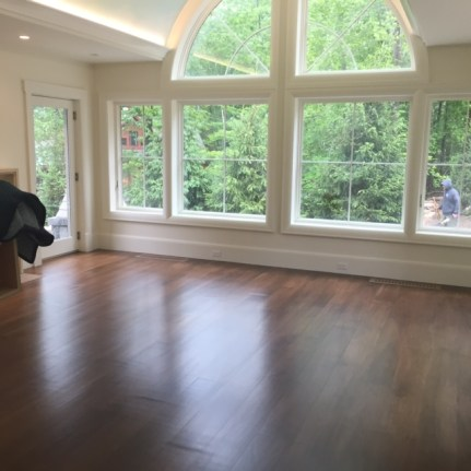 A clear finish in the naturally dark flooring