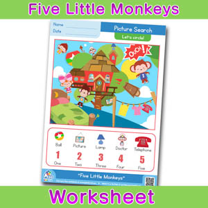 Five Little Monkeys Worksheets BINGOBONGO Picture Search 2