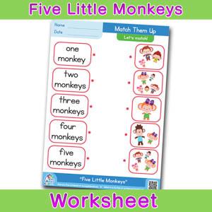 Five Littke Monkeys Worksheets Matching Time 3