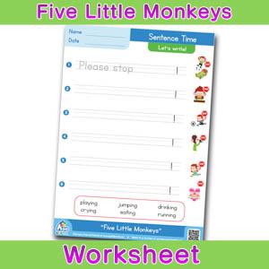 Five Little Monkeys Worksheets BINGOBONGO Sentence Time 1