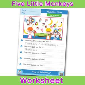 Five Little Monkeys Worksheets BINGOBONGO Question Time 1