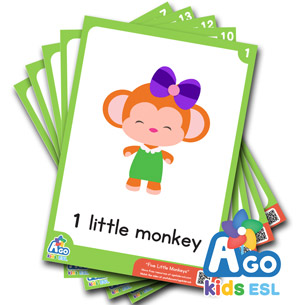 Five little monkeys Flashcard ESL Pack Free