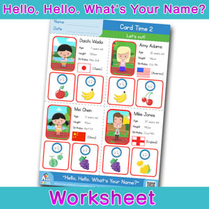 Hello Whats Your Name Worksheet card time 2