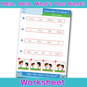 Hello Whats Your Name Worksheet unscramble the words 1