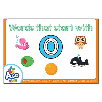 Free Alphabet Flashcards For Words That Start With The Letter O