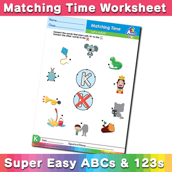 Words that start with A Phonics Matching Time