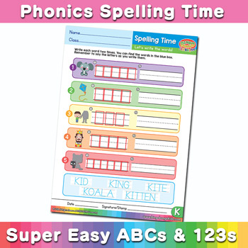 Phonics Spelling Worksheet Letter K
