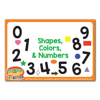 shapes colors & numbers flashcards