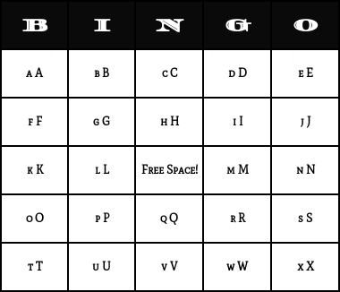 Alphabet bingo letter generator newsinvitation alphabet spiritdancerdesigns Image collections