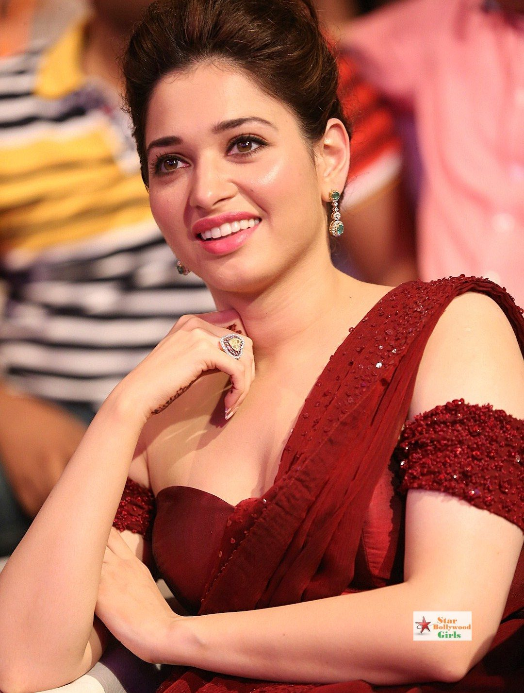 Tamannaah Bhatia Super Sexy Skin Show In Maroon Dress At Baahubali Audio Release Event6