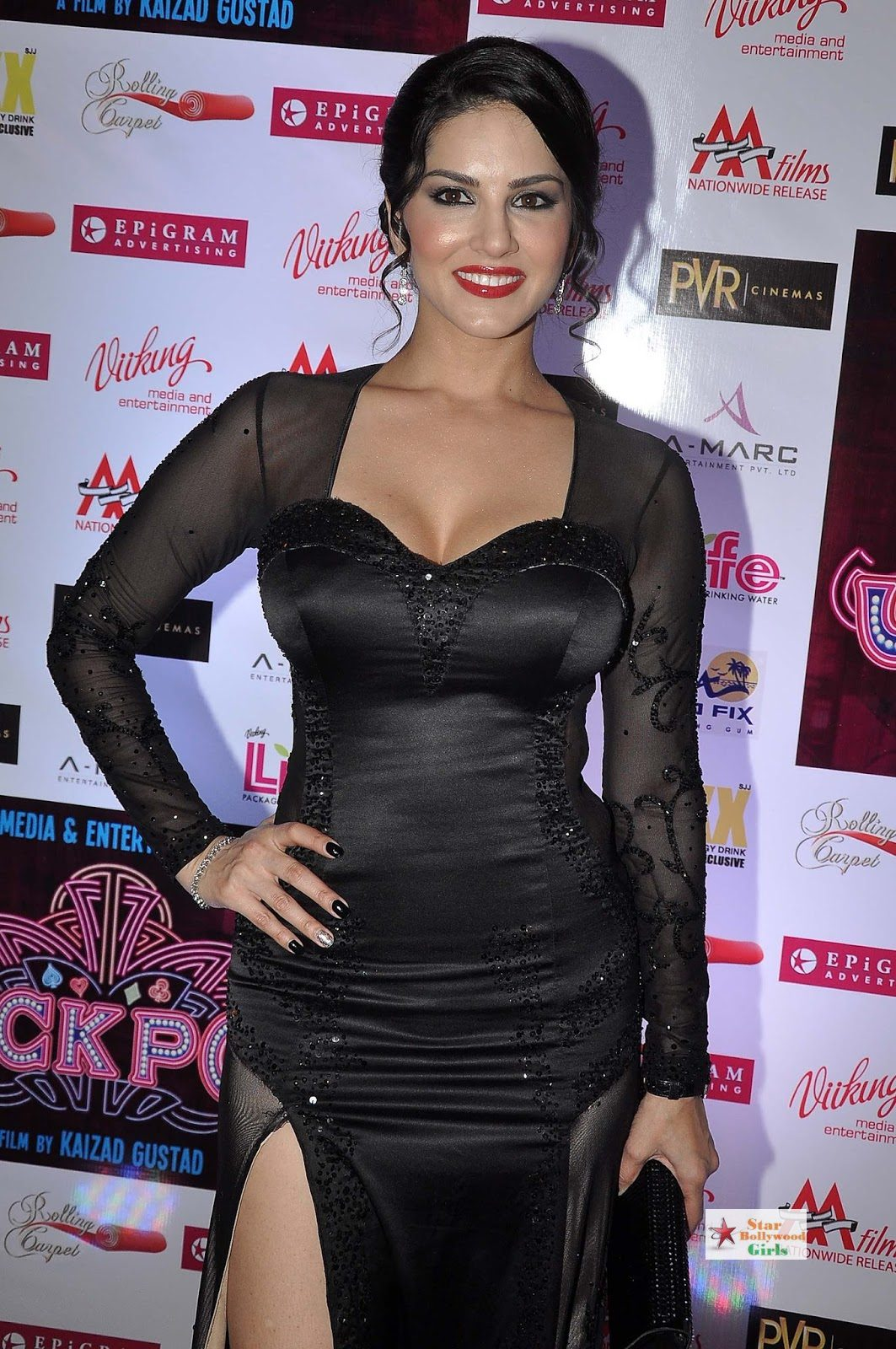 Sunny Leone Hot Skin Show In a Black See-through Dress At PVR Cinemas in Juhu1