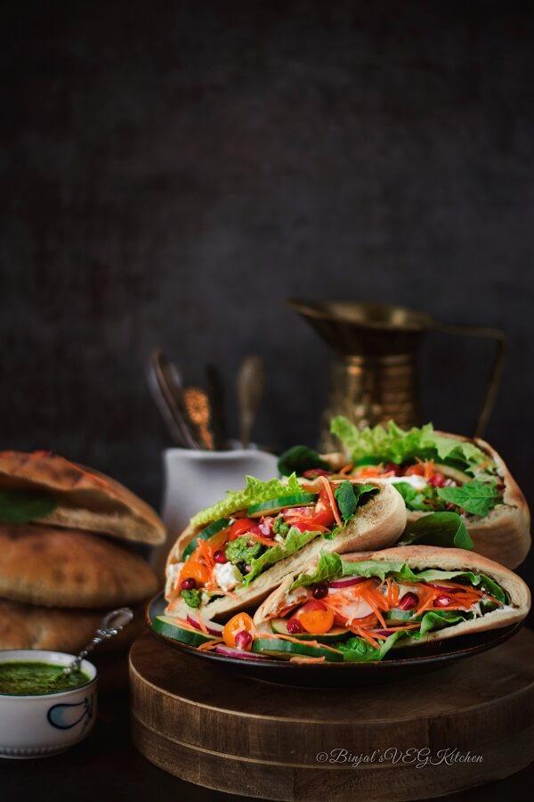 Veggie Pita Sandwich Photography