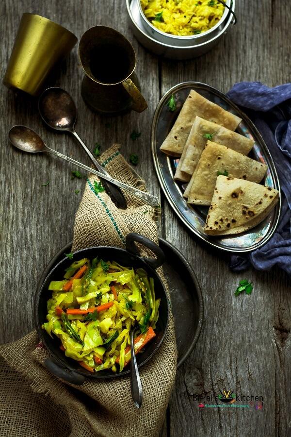Cabbage Sambharo Cabbage Stir Fried Salad  Binjals VEG