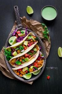 Roasted Chickpeas and Cauliflower Tacos