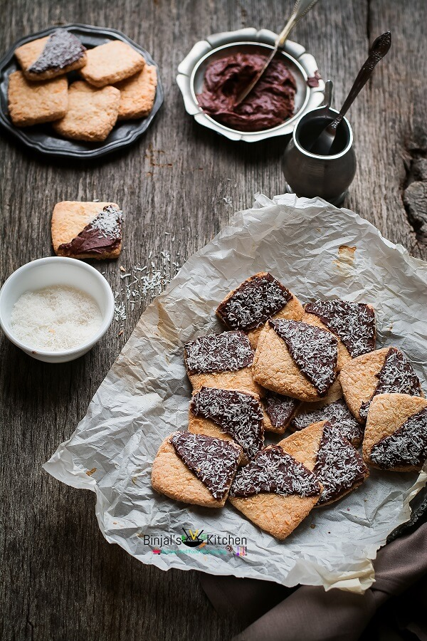Eggless Chocolate Frosted Coconut Cookies