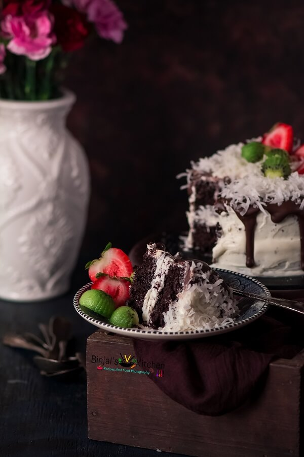 Eggless Coconut Chocolate Cake