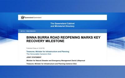 BINNA BURRA ROAD REOPENING MARKS KEY RECOVERY MILESTONE