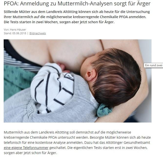 BR: Artikel – PFOA: Anmeldung zu Muttermilch-Analysen sorgt für Ärger