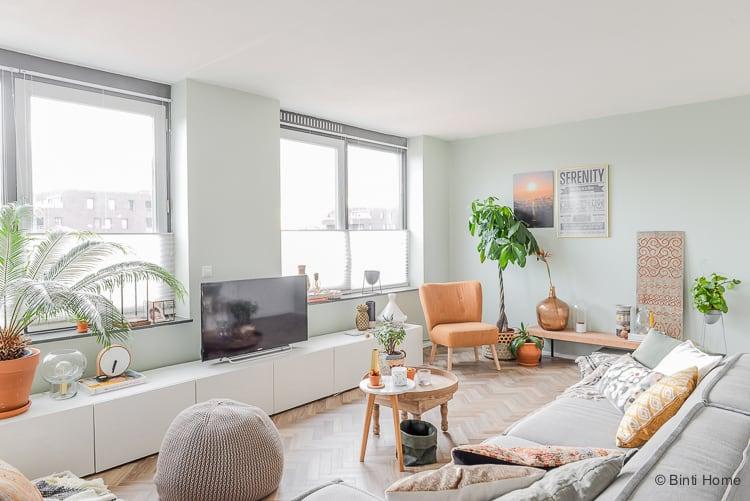 Welke kleur groen op de muur voor de woonkamer metamorfose?
