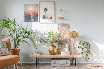 Ontdek je woonstijl woonkamer inrichten in de woonstijl Bohemian chic palmboom lamp brass ©BintiHome