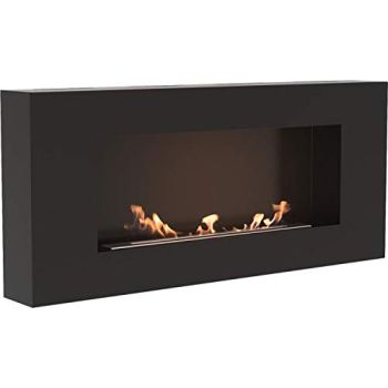 Kratki Delta Flat Bio Ethanol Fireplace [TÜV Certified] Black - Ventless Wall Mounted Indoor Heater
