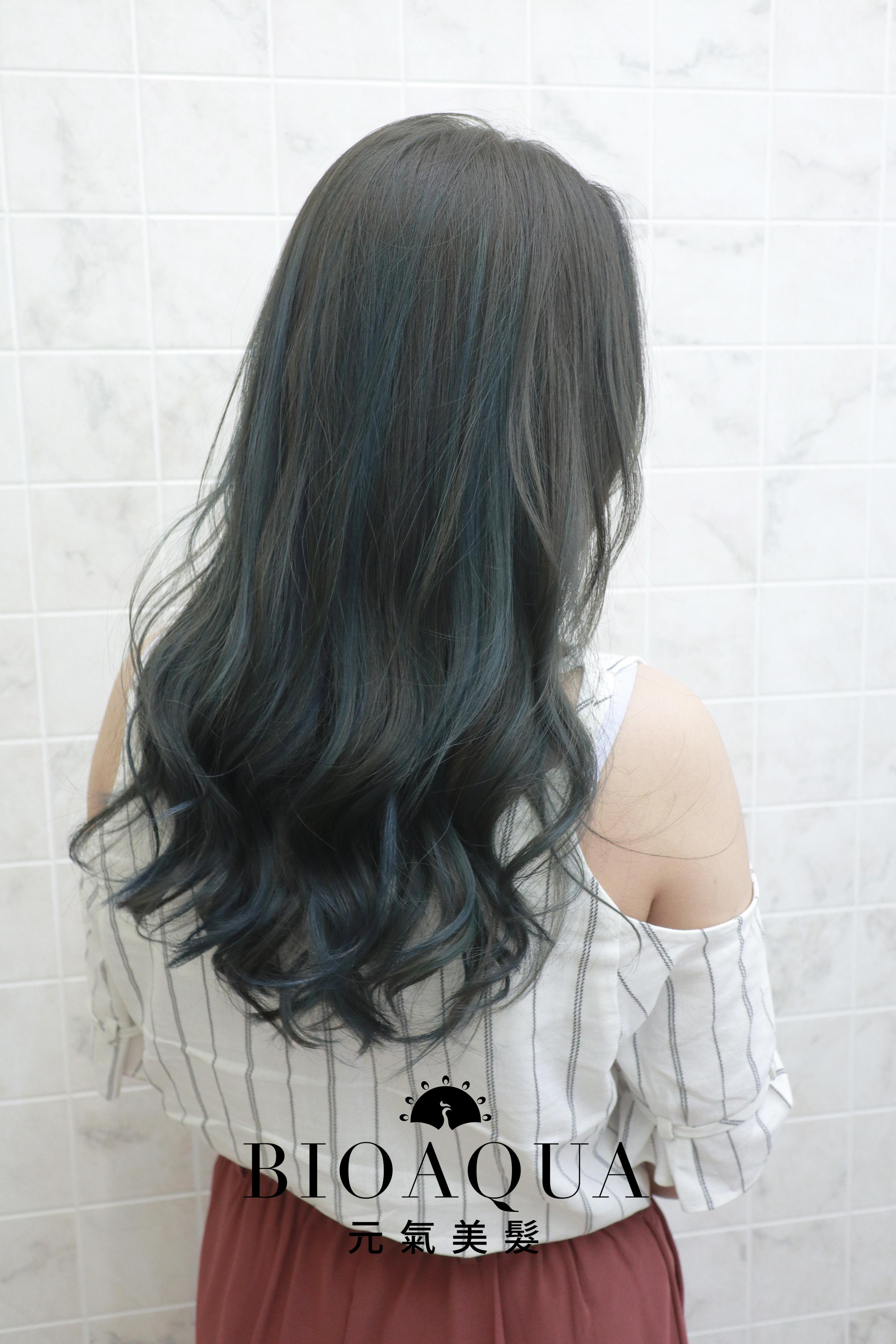 霧感灰綠棕色+藍綠色挑染 - 臺中髮廊 剪髮染髮推薦 元氣美髮