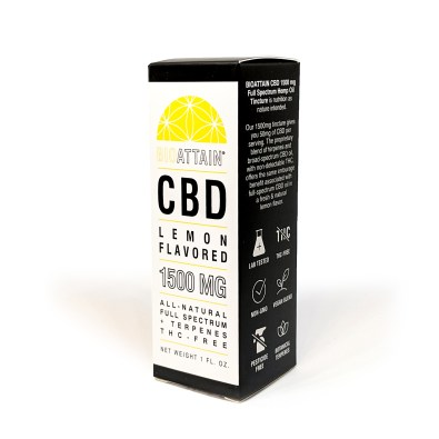 1500 mg CBD Oil Drops- Natural Lemon Flavor- THC free