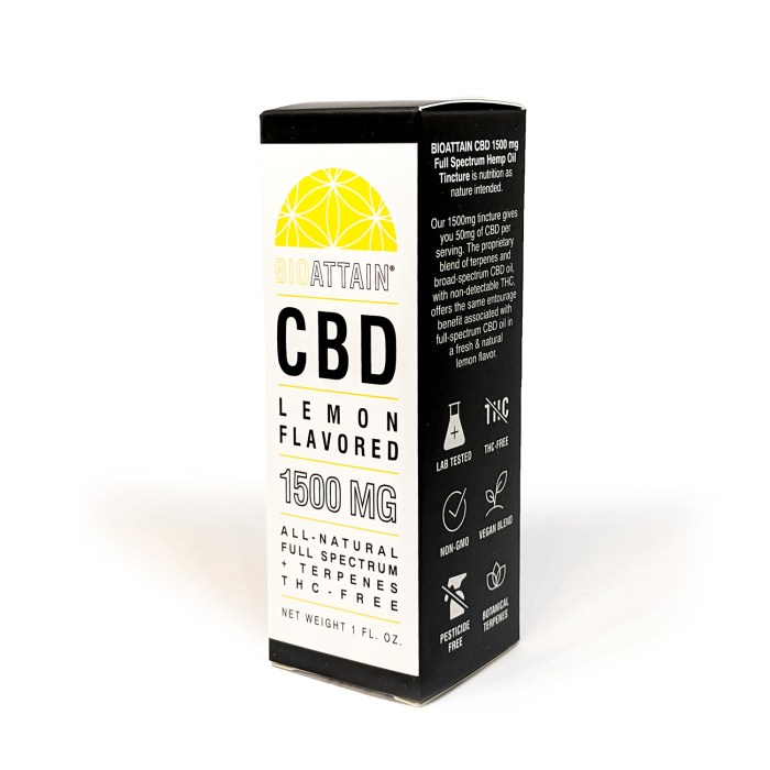 1500 mg CBD Oil Drops- Natural Lemon Flavor- THC free