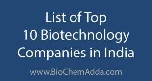 List of Top 10 Biotechnology Companies in India | BioChem Adda