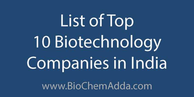 List of Top 10 Biotechnology Companies in India | BioChem Adda