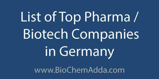 List of Top Pharma Biotech Companies in Germany | BioChem Adda