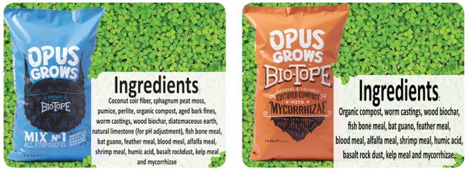 Products include Biotope (soil amendment) and Opus1 (potting soil).