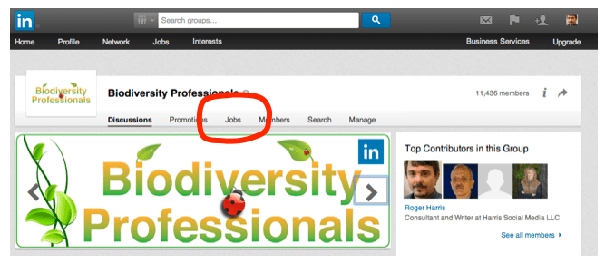 Screenshot of LinkedIn Biodiversity Professionals page
