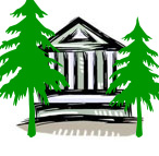 cartoon of biodiversity institutions building with two trees either site