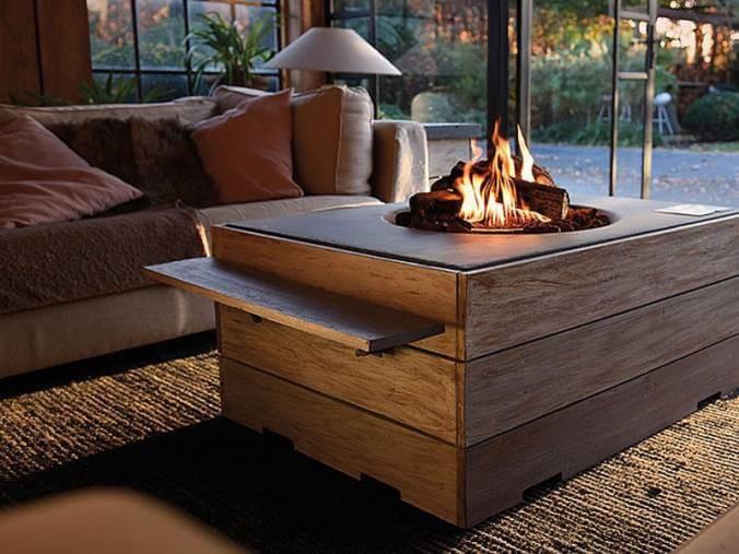 mesa con chimenea incorporada la