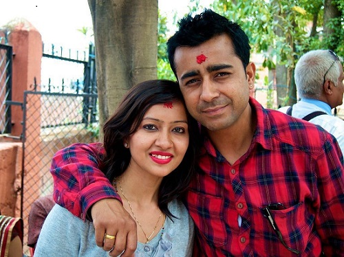 Girish Khatiwada with his wife