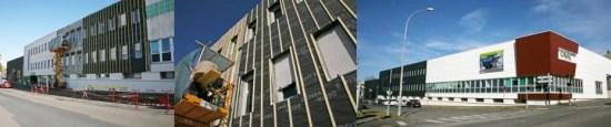 Rénovation par l'extérieur du siège social Cavac avec l'isolant Biofib'duo en panneaux de 400 mm de largeur.