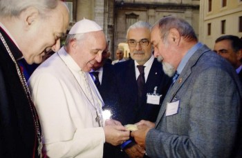 Pope Francis blesses a sample of Golden Rice at the Vatican, 2013
