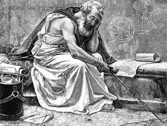 Arquímedes en su representación más tradicional: abstraído y meditabundo
