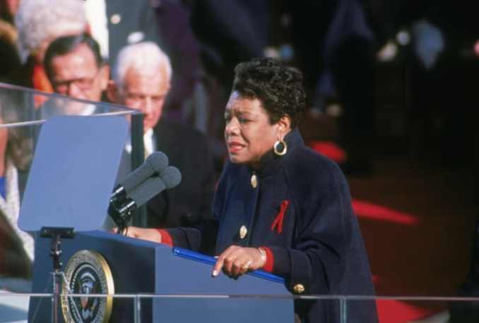 "Maya Angelou reciting her poem ""On the Pulse of Morning"" at the inauguration of Bill Clinton in Washington, D.C. on January 20, 1993"